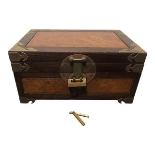 19th Century Asian Style Jewelry Box W Burl Wood Inlay and Lock For Sale