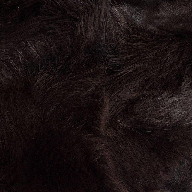 Natural Fiber Luxurious Custom New Handmade Fox Fur Pillows in a Stunning Onyx Shade For Sale - Image 7 of 10