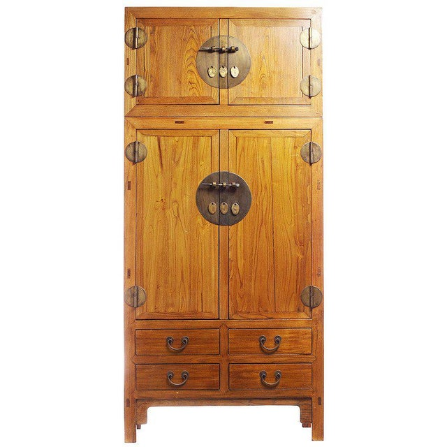 19th Century Large Natural Elmwood Compound Cabinet with Medallions from China For Sale In New York - Image 6 of 6