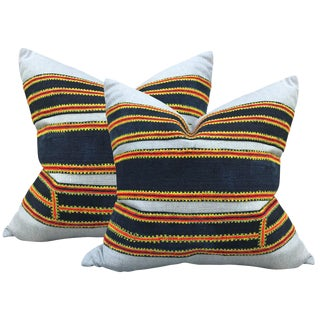 Pair of Vintage Hmong Embroidery Pillows For Sale