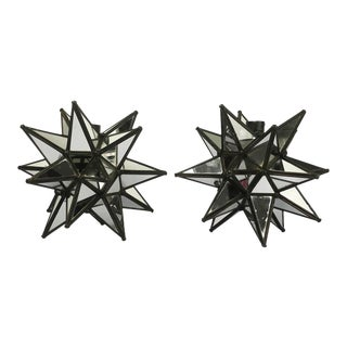 Mid-Century Modern Star-Shaped Candleholders with Embedded Mirrors - a Pair For Sale