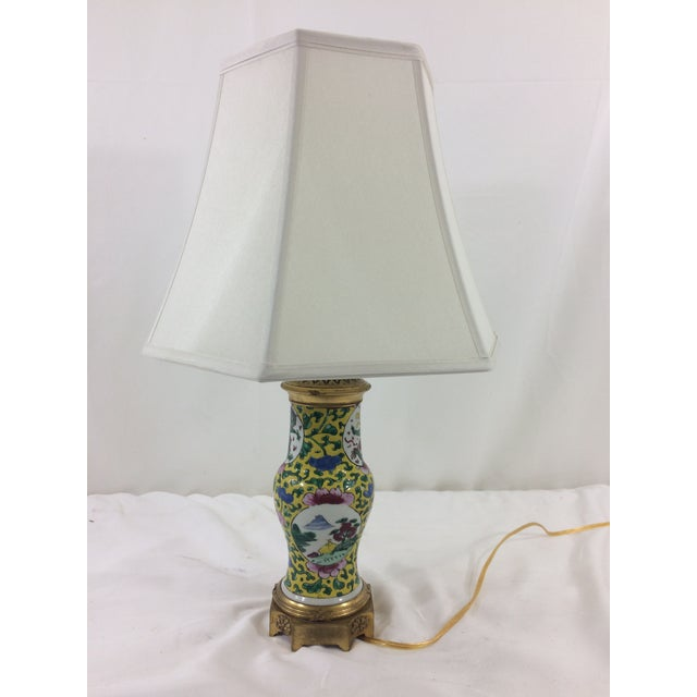 Bronze Imperial Yellow Chinese Export Lamp with Mounted Bronze Base For Sale - Image 7 of 7