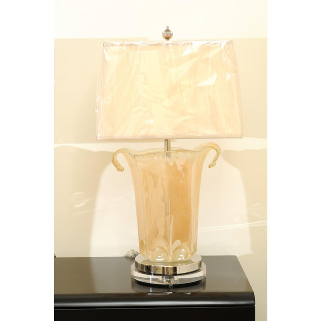 Blown Glass Knockout Pair of Large-Scale Blown Murano Vases as Custom Lamps For Sale - Image 7 of 11