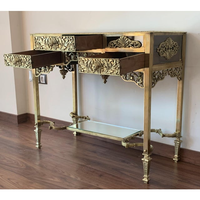 19th French Bronze Mirrored Dressing Table or Vanity With Three Drawers For Sale - Image 4 of 12