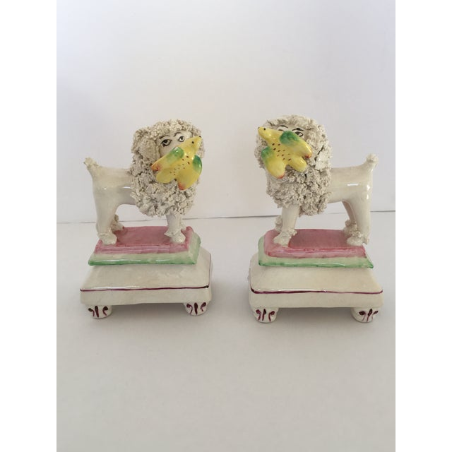 English Traditional Antique Staffordshire Poodle Dog Figurines - A Pair For Sale - Image 3 of 11