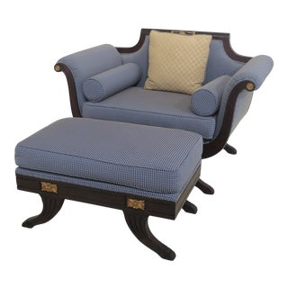 1990s Vintage Duncan Phyfe Oversized Chair & Matching Ottoman For Sale
