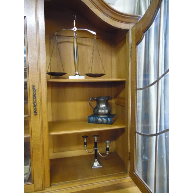 French Solid Oak 2 Piece China Cabinet For Sale - Image 4 of 7
