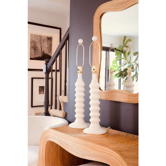 Mid Century Chic plaster lamps in the style of Alberto Giaccometti. 1970´s tiered design They have been rewired with new...