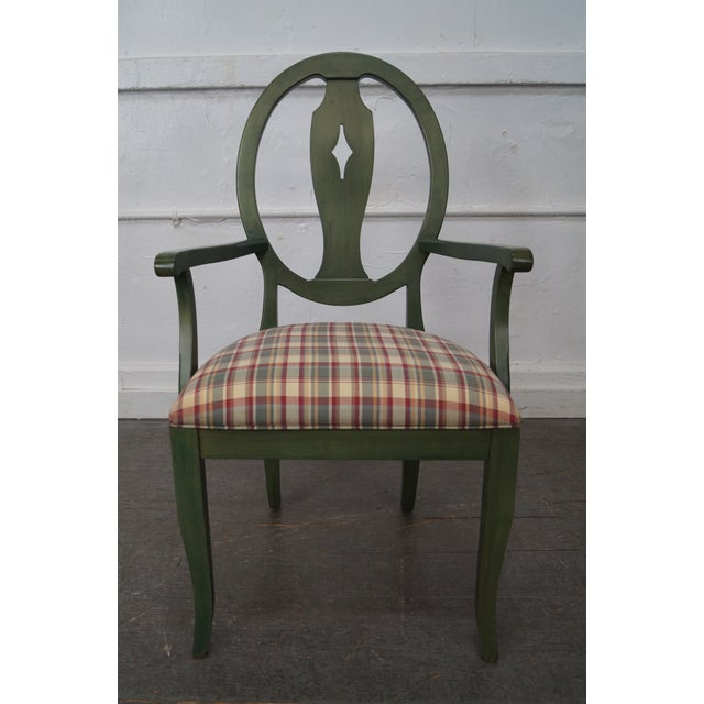Ethan Allen Country Green Painted Arm Chair For Sale - Image 11 of 11