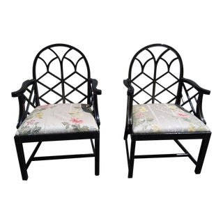 Lattice Work Back Black Arm Chairs - a Pair