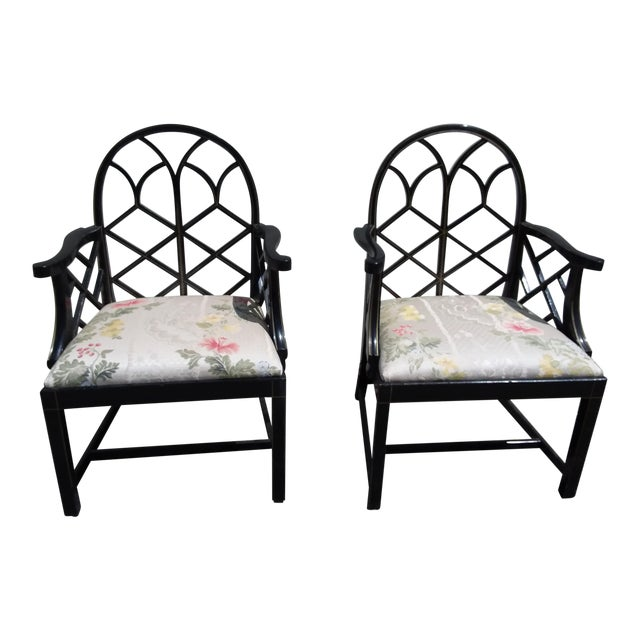Lattice Work Back Black Arm Chairs - a Pair For Sale