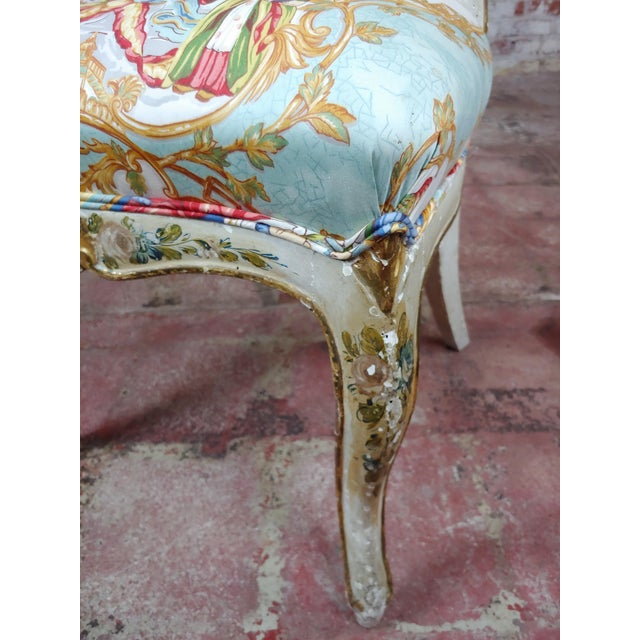 18th Century 18th Century Venetian Painted and Upholstered Side Chair For Sale - Image 5 of 11
