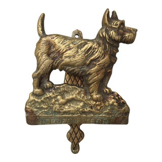 Antique Berdeen Terrier Brass Door Knocker For Sale