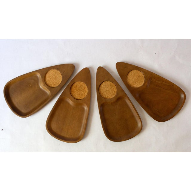 Vintage Mid-Century Teak Wood Snack Trays - Set of 4 For Sale In Dallas - Image 6 of 6