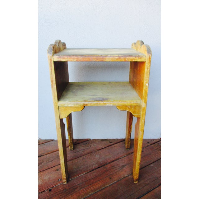 1940s Antique Farmhouse Wood End Table Monterey Rustic Style For Sale - Image 9 of 10