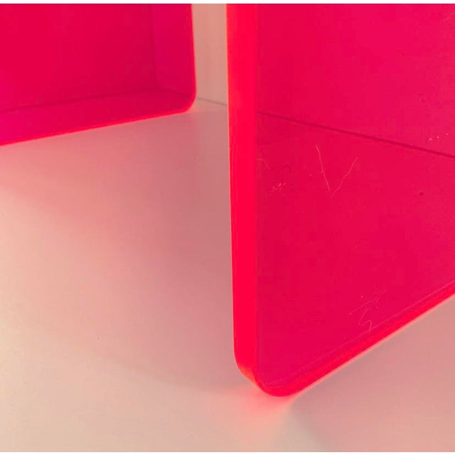 """""""The Side Piece"""" Side Table in Neon Pink For Sale In San Francisco - Image 6 of 8"""