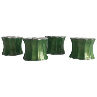 Julia Knight Green Enamel Napkin Rings - Set of Four For Sale