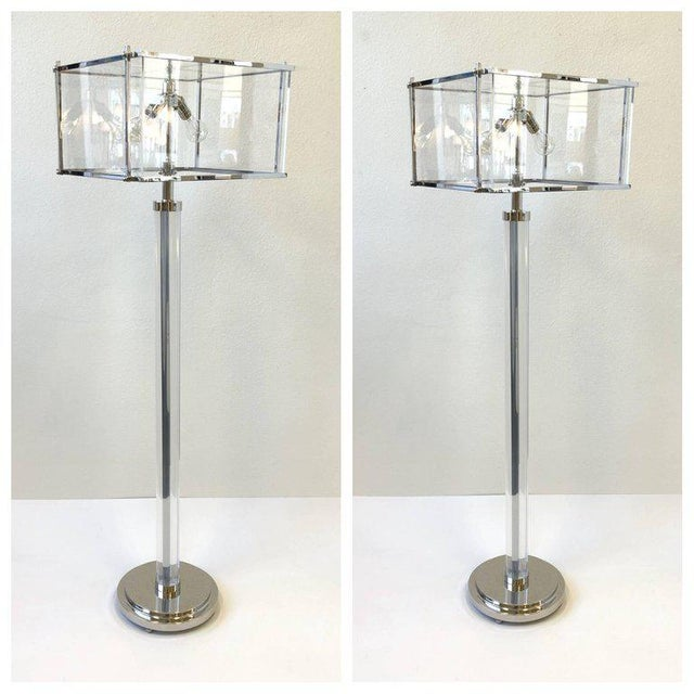Silver Pair of Polish Nickel and Acrylic Floor Lamps by Charles Hollis Jones For Sale - Image 8 of 9