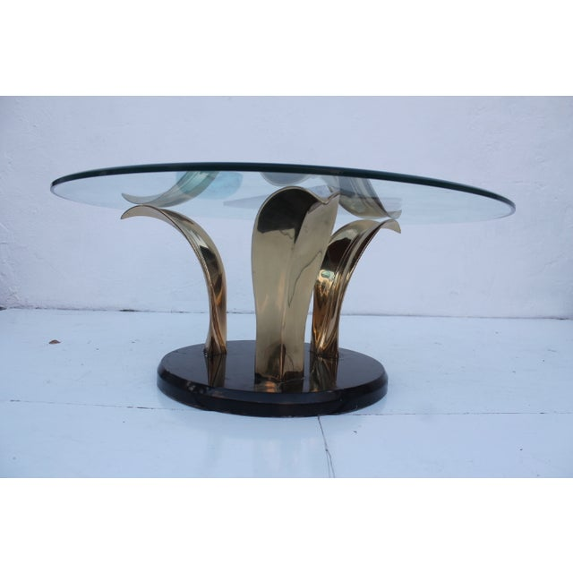 Hollywood Regency Lacquer & Brass Palm Leaf Coffee Table For Sale - Image 3 of 10