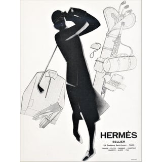 Matted 1929 Art Deco Hermes Advertisement Print for Woman Golfer For Sale