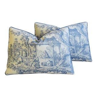 "Blue & White Chinoiserie Toile Feather/Down Pillows 22"" X 16"" - Pair"