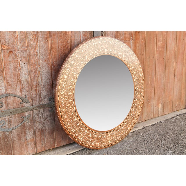Late 19th Century Zellige Round Bone Inlay Mirror For Sale - Image 5 of 6