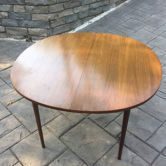 Walnut Mid Century Modern Dining Table With Two Leafs - Image 4 of 11