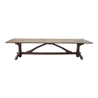 Early 19th Century Antique Farm Style Oak Trestle Dining Table For Sale