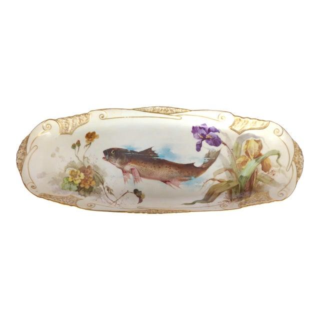 1900 J. Etienne Hand-Painted Limoges Porcelain Fish Platter For Sale