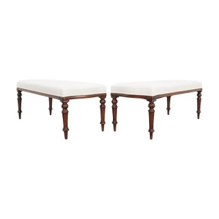 English 19th Century George III Mahogany Upholstered Benches - a Pair For Sale