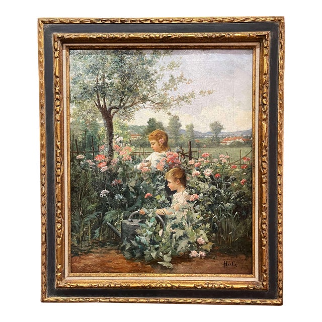 19th Century French Oil on Canvas Painting in Carved Frame Signed Haag For Sale