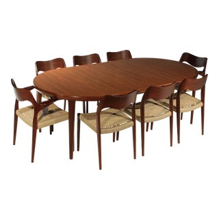 Niels Moller Model 71 & 55 Chairs & 1 Vv Møbler Elliptical Extension Table - 9 Piece Dining Set For Sale