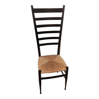 Vintage Mid Century Italian Gio Ponti High Back Ladder Back Chair For Sale