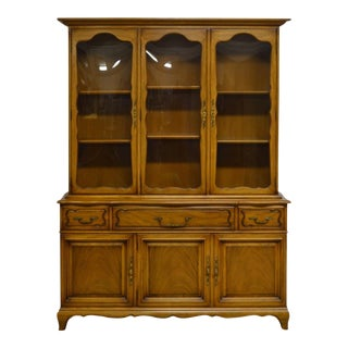 Karges French Style Fruitwood 3 Door Breakfront China Cabinet W. Desk- 2 Pc.