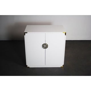 Asian Hollywood Regency White Cabinet with Brass Accents Preview