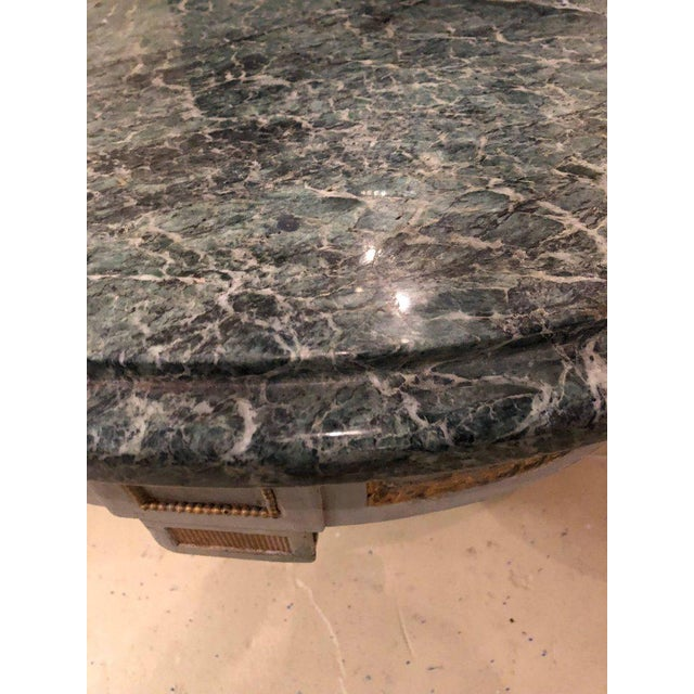 Hollywood Regency Painted and Marble Demilune Consoles - a Pair For Sale In New York - Image 6 of 12