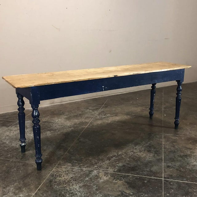 Antique 19th Century Painted Sofa Farm Table With Stripped Top For Sale - Image 13 of 13