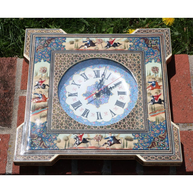 Bone Persian Khatam Marquetry Clock For Sale - Image 7 of 8