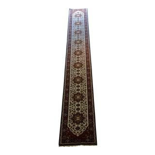 Modern Extra Long Hand-Knotted Heriz Style Runner Rug - 2′8″ × 19′1″