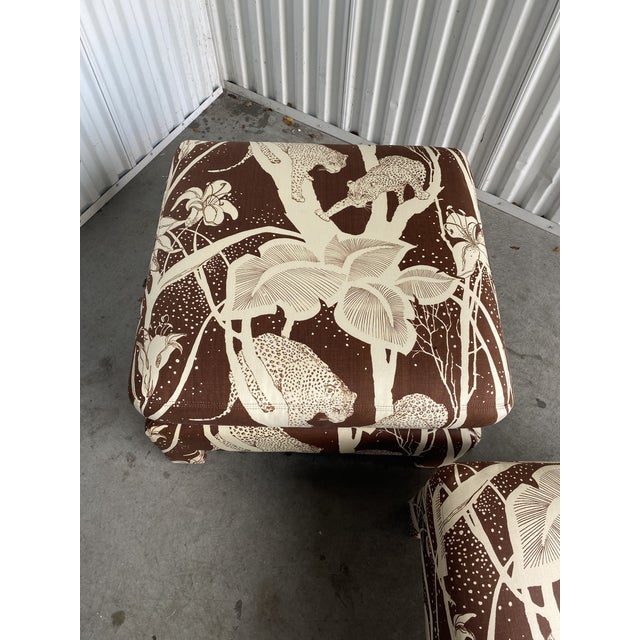 Contemporary Vintage Cheetah Print Ottomans - a Pair For Sale - Image 3 of 8