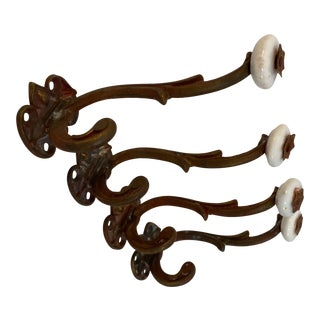 Antique French Porcelain and Brass Hooks - Set of 4 For Sale