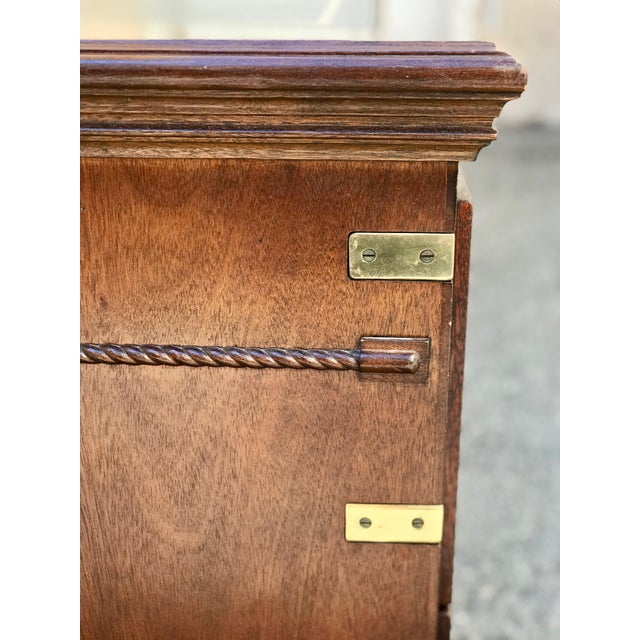 1970s Campaign Executive Desk With Brass Hardware For Sale - Image 11 of 12