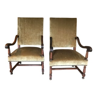 Early 19th Century Vintage French Walnut High Back Chairs- a Pair For Sale