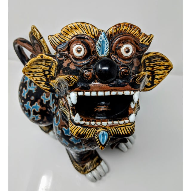 Ceramic Painted Imperial Guardian Lion and Foo Dragon For Sale - Image 12 of 13