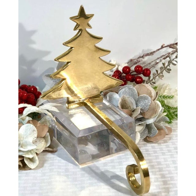 Traditional Vintage Brass Stocking Hanger Christmas Hook Holiday Tree For Sale - Image 3 of 7