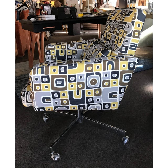 A very modern, 1970s modern executive desk chair recently upholstered in a high end modern Pop Art print in grey, black,...