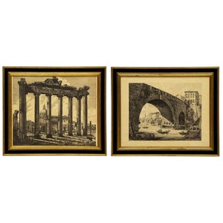 Luigi Rossini (1790-1857) Roman Folio Etchings - Set of 2 For Sale