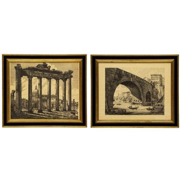 Luigi Rossini (1790-1857) Roman Folio Etchings - Set of 2 For Sale