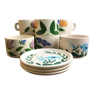 Mid-Century Modern French Poteries Du Marais Soup Bowl/Cups and Salad Plates - 11 Pc. Set For Sale