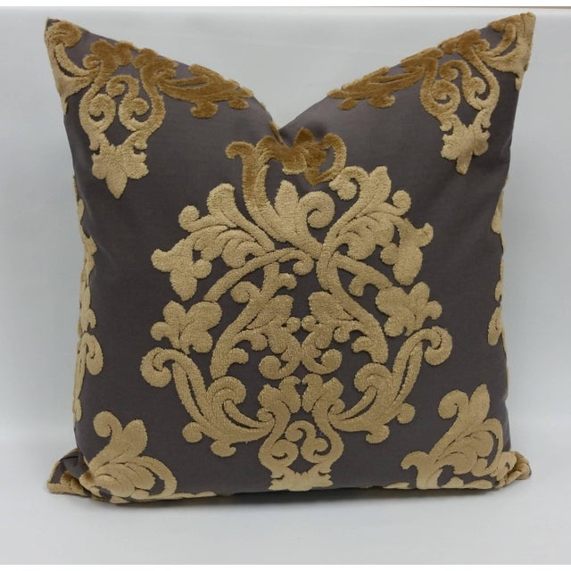 Handmade pair of Robert Allen royal beauty slate pillows with same fabric for the backs. The fabric is imported from...